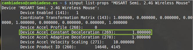 "xinput list-props ""MOSART Semi. 2.4G Wireless Mouse"""